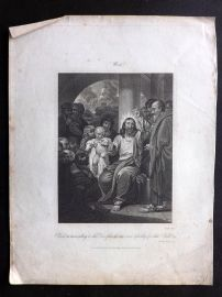 Hewlett 1812 Antique Religious Print. Christ Recommending to his Disciples